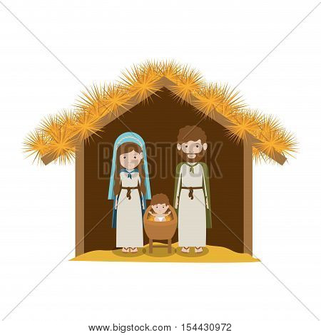 traditional religious manger scene. virgin mary with saint joseph and newborn baby jesus icon over white background. vector illustration