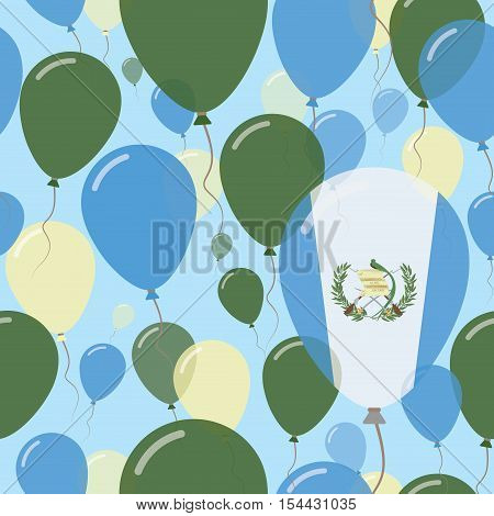 Guatemala National Day Flat Seamless Pattern. Flying Celebration Balloons In Colors Of Guatemalan Fl