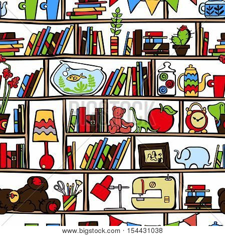 Shelves with books and toys. Crockery and flowers in pots. Sewing machine and desk lamp. Aquarium and alarm clock. Seamless vector pattern (background).