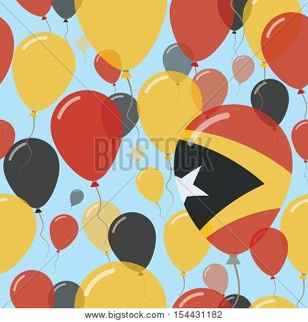 Timor-leste National Day Flat Seamless Pattern. Flying Celebration Balloons In Colors Of East Timore