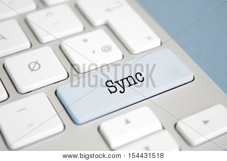 Sync written on a keyboard