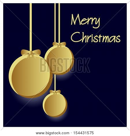 Three Gold Paper Christmas Decoration Baubles Hanging Black Background Eps10