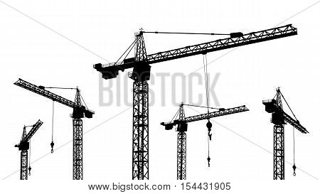 Computer generated 2D illustration with the silhouette of construction cranes