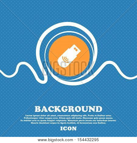 Usb Icon Sign. Blue And White Abstract Background Flecked With Space For Text And Your Design. Vecto