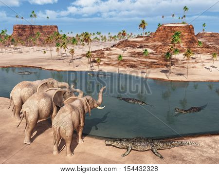 Computer generated 3D illustration with elephants and crocodiles at a waterhole