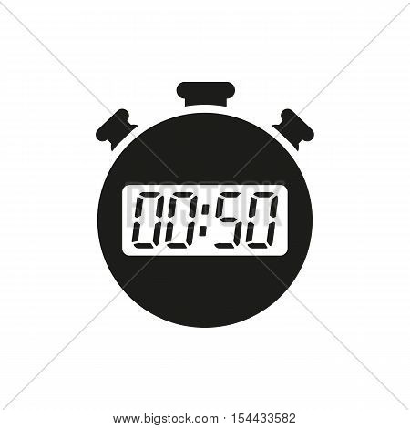 The 50 seconds, minutes stopwatch icon. Clock and watch, timer, countdown symbol. UI. Web. Logo. Sign. Flat design. App. Stock vector