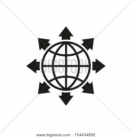 The global solution icon. WWW and browser, development, search, SEO symbol. UI. Web. Logo. Sign. Flat design. App. Stock vector