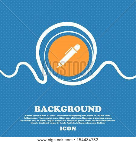 Pen Icon Sign. Blue And White Abstract Background Flecked With Space For Text And Your Design. Vecto