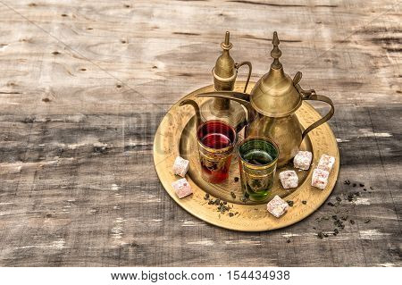 Festive tea table setting. Oriental hospitality. Eid Mubarak