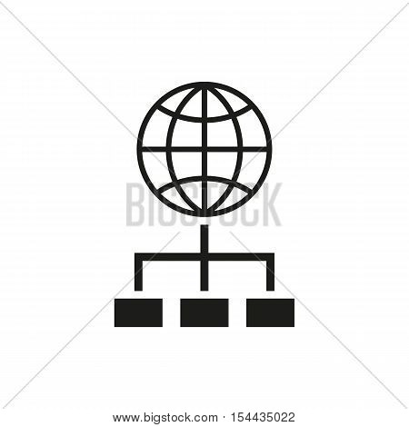 The SEO icon. WWW and browser, development, search symbol. UI. Web. Logo. Sign. Flat design. App. Stock vector