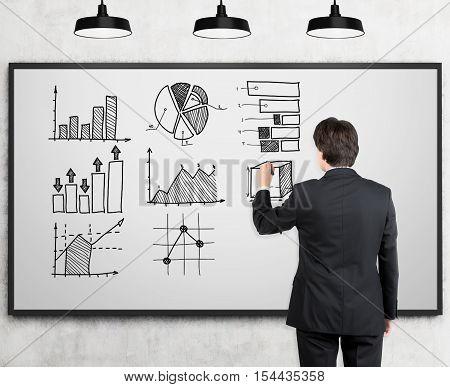 Rear View Of Man Drawing Graphs