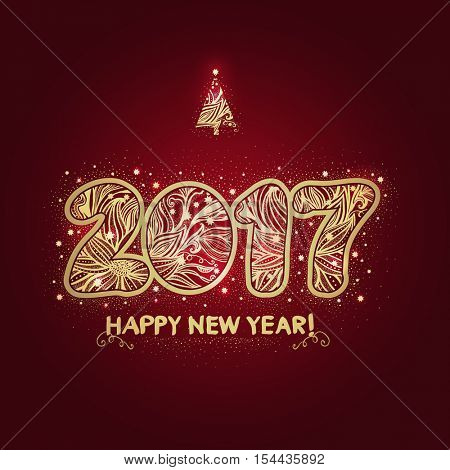 2017. The raster version of Happy New Year background. The gold figures with a decorative ornament. Christmas design. Hand drawn text.