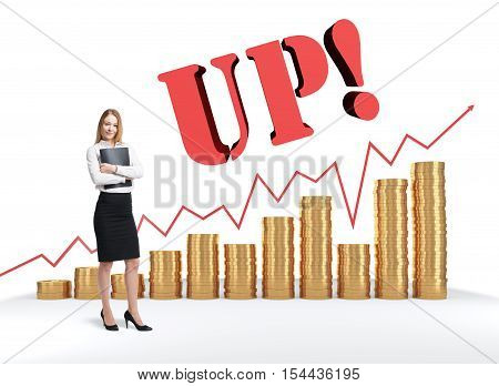 Portrait of blond woman with folder standing near stacks of giant coins red graph and the word up. Concept of capitalization of company