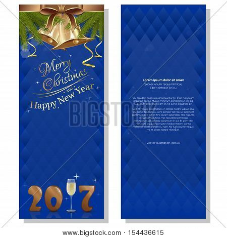 New Year 2017. Blue abstract vector christmassy backgrounds with fir branches, ribbons, bows and golden bells. Merry Christmas and a Happy New Year