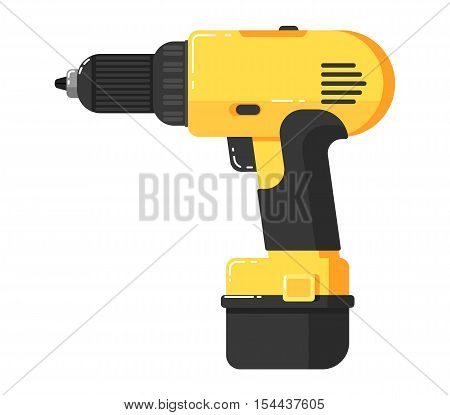 Battery screwdriver isolated on white background vector illustration. Drill in flat design. Electric hand tools for carpentry and home renovation. DIY. Construction power equipment.