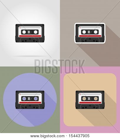old retro vintage audiocassette flat icons vector illustration isolated on background
