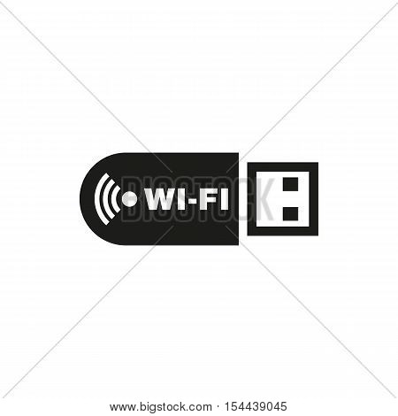 The wifi adapter icon. Transfer and connection, data symbol. UI. Web. Logo. Sign. Flat design. App. Stock vector