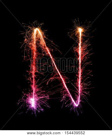 Sparkler Firework Light Alphabet N (capital Letters) At Night
