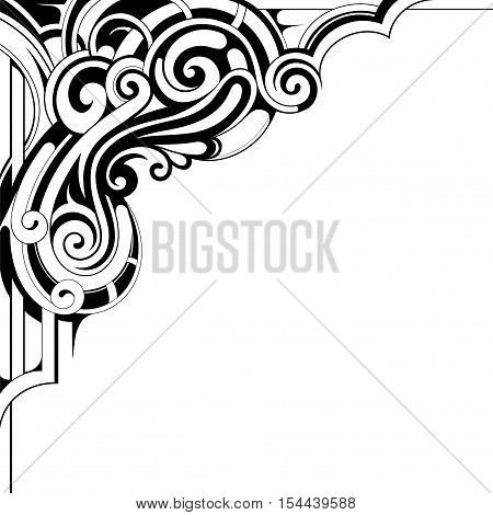 Decorative corner ornament with copy space area