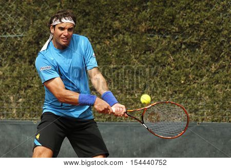 BARCELONA, SPAIN - APRIL, 20: Tunisian tennis player Malek Jaziri in action during a match of Barcelona tennis tournament Conde de Godo on April 20, 2016 in Barcelona