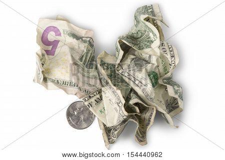 Minimum Wage - Crumpled Bills