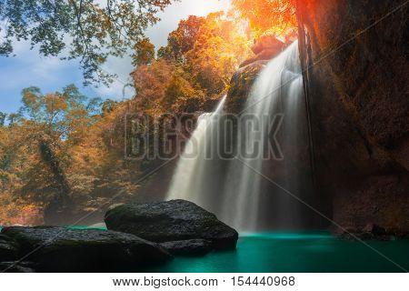 Amazing Beautiful Waterfalls In Autumn Forest At Haew Suwat Waterfall In Khao Yai National Park, Tha