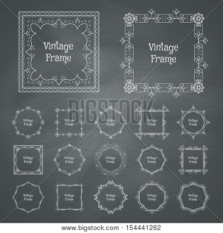 Vintage frames set. Vector decorative collection in retro style on chalkboard background