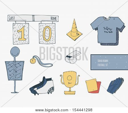 Hand drawn creative set with soccer objects good for training. Vector football illustration with cone medal card t-shirts boots whistle scoreboard goalkeeper gloves. Isolated on white set