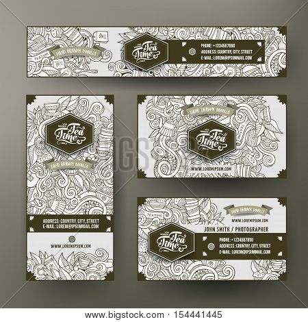 Corporate Identity vector templates set design with doodles hand drawn tea theme. Line art banner, id cards, flayer design