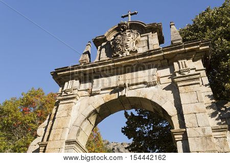 Detail of the arch at the start of the alley towards the Church of Our Lady in the Peneda Geres National Park North of Portugal