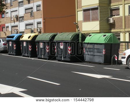 Bin containers in Saragossa Spain. Taken on the 26th of July of 2015