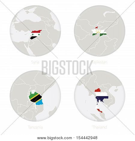 Syria, Tajikistan, Tanzania, Thailand map contour and national flag in a circle. Vector Illustration.