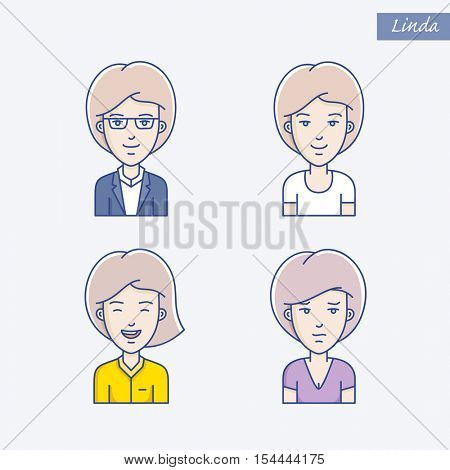 Icon set of different woman face expressions. Vector linear girl avatars. Face expression avatar icons
