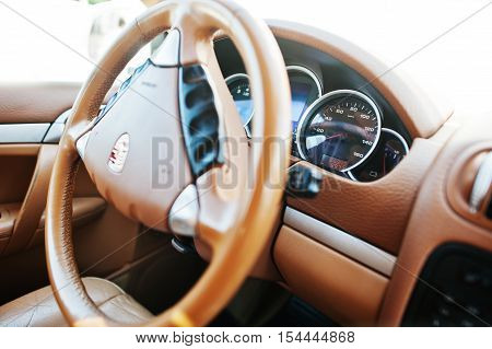 Hai, Ukraine - October 20, 2016: Porsche Cayenne Steeering Wheel
