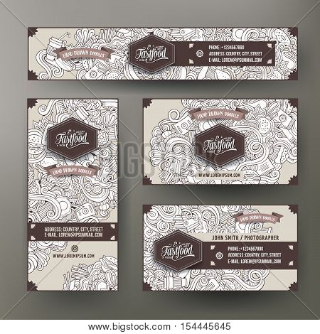 Corporate Identity vector templates set design with doodles hand drawn fastfood theme. Line art banner, id cards, flayer design. Templates set