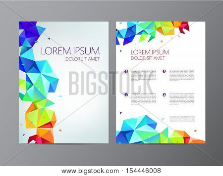 vector flyer, colorful rainbow brochure abstract design 2 sides, background, cover. Modern crystal, geometric faceted