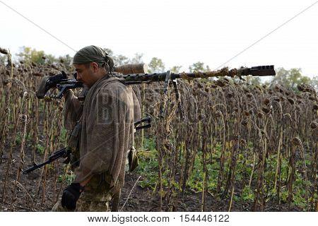 Sniper rifle. Ukraine Lugansk region October 2016. The war in Ukraine