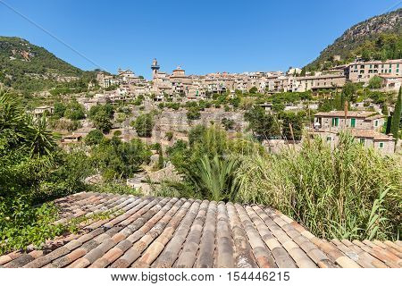 Valldemossa hilltop. View of village of Valldemossa Mallorca Balearic islands Spain.