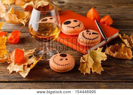 Snifter Of Brandy And Dried  Leaves. Halloween Scane