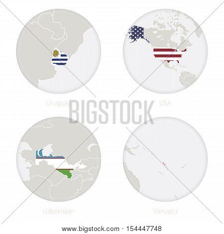 Uruguay, USA, Uzbekistan, Vanuatu map contour and national flag in a circle. Vector Illustration.
