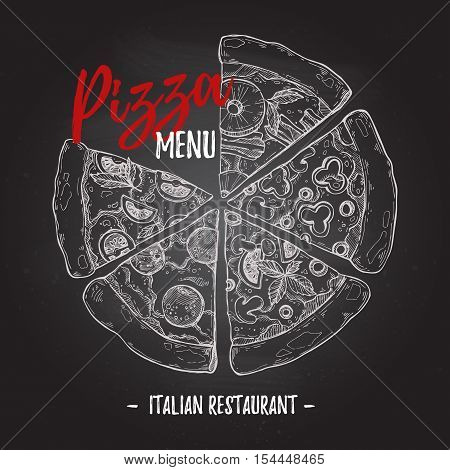 Hand Drawn Vector Illustration - Pizza Menu On Chalk Background (italian Restaurant). Types Of Pizza