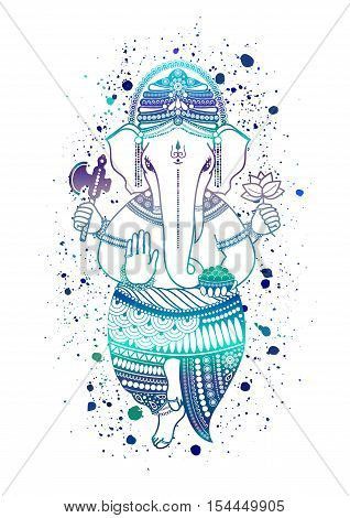 Ganesha, or Ganapati, Indian deity in the Hindu, in blue color isolated on a white background. Paint splash. Vector illustration for design of prints, web, festive, Chaturthi invitations. poster