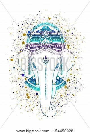 Ganesha, or Ganapati, Indian deity in the Hindu, in blue color isolated on a white background. Paint gold splash. Vector illustration for design of prints, web, festive, Chaturthi invitations.