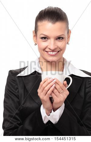 Smiling business woman drink cofee