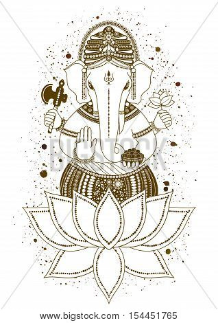 Ganesha, or Ganapati, Indian deity in the Hindu, mehndi in lotus flower. Paint splash. Vector illustration for design of prints, web, Chaturthi invitations.