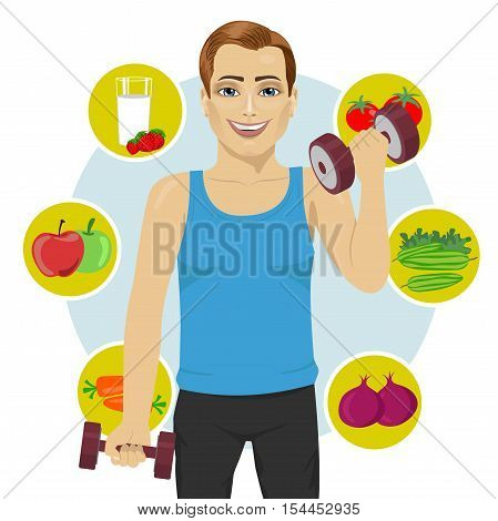 sporty young man with dumbbells and variety of healthy fruits
