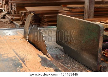 table saw in workshop , table saw for cutting wood