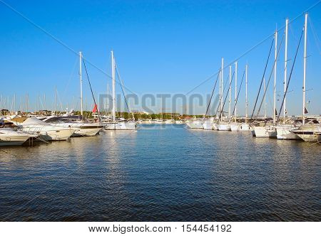 Yachts in the port of Vodice Adriatic coast Croatia. poster