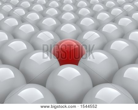 Red Ball In White Ones