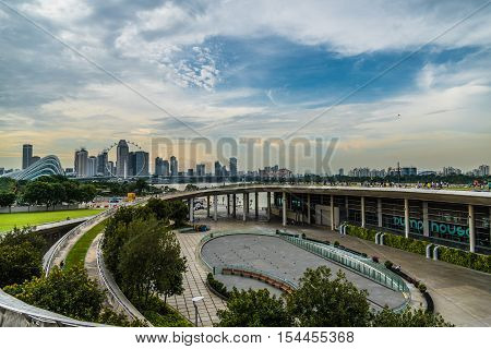 Beautiful view of Singapore skyline from Marina Barrage